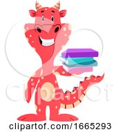 Red Dragon Is Holding Books