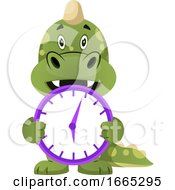 Green Dragon Is Holding Clock