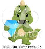 Green Dragon Is Holding Diamond