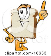 Clipart Picture Of A Slice Of White Bread Food Mascot Cartoon Character Pointing Upwards by Toons4Biz