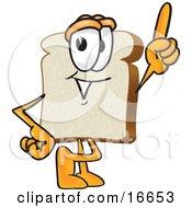 Slice Of White Bread Food Mascot Cartoon Character Pointing Upwards