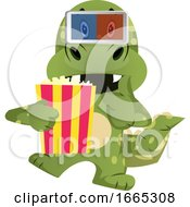 Poster, Art Print Of Green Dragon Is Watching Movie