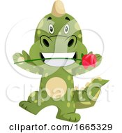 Poster, Art Print Of Green Dragon Is Holding Rose In His Mouth