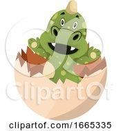 Poster, Art Print Of Green Dragon Is Geting Out Of Egg