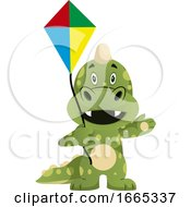 Poster, Art Print Of Green Dragon Is Holding A Kite