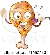 Fried Chicken Leg Singing On A Microphone