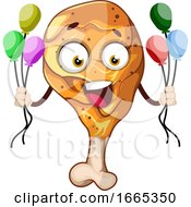 Happy Fried Chicken Leg Holding Balloons