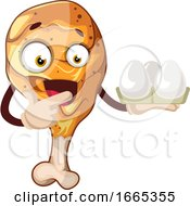 Poster, Art Print Of Surprised Chicken Leg Holding Eggs