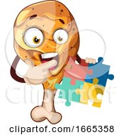 Poster, Art Print Of Happy Chicken Leg Holding A Puzzle