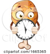 Fried Chicken Leg Holding A Clock