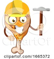 Poster, Art Print Of Fried Chicken Leg As A Construction Worker