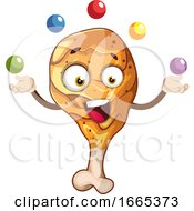 Poster, Art Print Of Cheerful Fried Drumstick Juggling