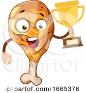 Joyful Chicken Leg Holding A Number One Trophy