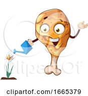 Poster, Art Print Of Cheerful Chicken Leg Watering Flowers