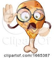 Poster, Art Print Of A Scared Fried Chicken Character With Glasses