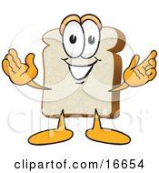 Slice Of White Bread Food Mascot Cartoon Character With His Arms Open