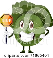 Cabbage Is Holding A Stop Sign