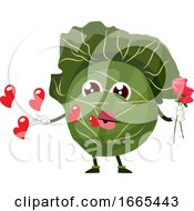 Poster, Art Print Of Cabbage Holds A Rose And Sends Kisses