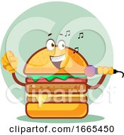 Singing Burger Is Holding A Microphone