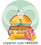 Burger Is Holding A Doughnut