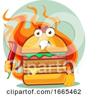 Hot Angry Burger Is Holding A Chili Pepper