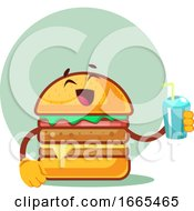 Burger Is Holding Cup With Straw