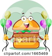 Smiling Burger Is Holding Balloons