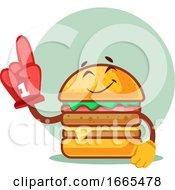 Burger Wearing Cheering Red Glove