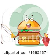 Burger With Fishing Rod And A Fish