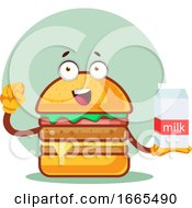 Burger Is Holding A Milk