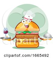 Chef Burger Is Holding A Meal And Wine Glass