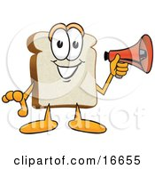 Clipart Picture Of A Slice Of White Bread Food Mascot Cartoon Character Holding A Red Bullhorn Megaphone by Toons4Biz