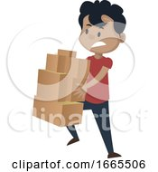Boy Is Holding Boxes