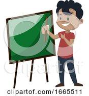 Boy Is Pointing On A Blackboard