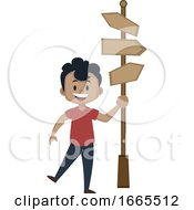 Boy Is Holding Road Direction Signs