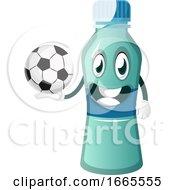 Bottle Is Holding Football Ball