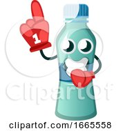 Bottle Is Wearing Cheering Glove