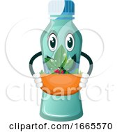 Bottle Is Holding Flowerpot