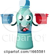 Bottle Is Holding Sale Boxes