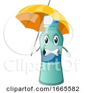Bottle Is Holding An Umbrella