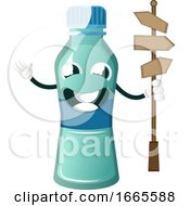 Bottle Is Holding Road Direction Sign
