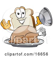 Slice Of White Bread Food Mascot Cartoon Character Serving A Cooked Turkey On A Platter