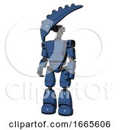 Droid Containing Flat Elongated Skull Head And Light Chest Exoshielding And Prototype Exoplate Chest And Light Leg Exoshielding Blue Halftone Standing Looking Right Restful Pose