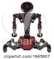 Automaton Containing Digital Display Head And X Face And Heavy Upper Chest And No Chest Plating And Insect Walker Legs Grunge Matted Orange Front View