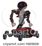 Automaton Containing Digital Display Head And X Face And Heavy Upper Chest And No Chest Plating And Insect Walker Legs Grunge Matted Orange Hero Pose