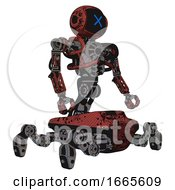 Automaton Containing Digital Display Head And X Face And Heavy Upper Chest And No Chest Plating And Insect Walker Legs Grunge Matted Orange Facing Left View
