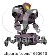Mech Containing Grey Alien Style Head And Yellow Eyes And Heavy Upper Chest And Chest Compound Eyes And Insect Walker Legs Lilac Metal Facing Left View