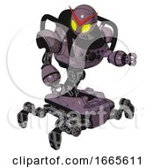 Mech Containing Grey Alien Style Head And Yellow Eyes And Heavy Upper Chest And Chest Compound Eyes And Insect Walker Legs Lilac Metal Fight Or Defense Pose
