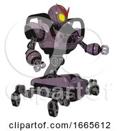 Mech Containing Grey Alien Style Head And Yellow Eyes And Heavy Upper Chest And Chest Compound Eyes And Insect Walker Legs Lilac Metal Interacting
