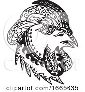 Poster, Art Print Of Rooster Head Tribal Tattoo Style